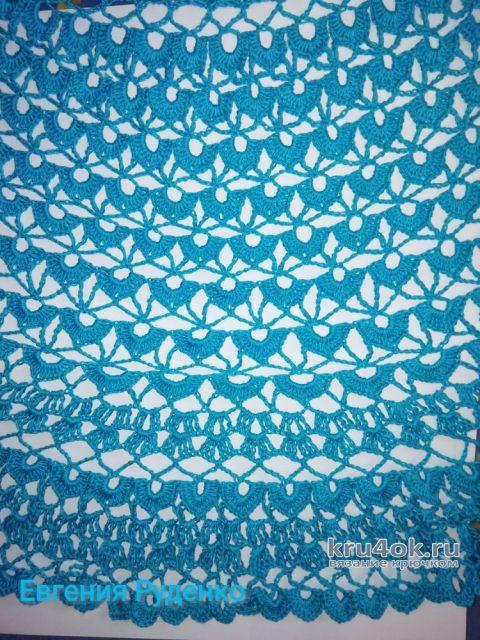Ажурное летнее платье Тёмная бирюза. Работа Евгении Руденко вязание и схемы вязания
