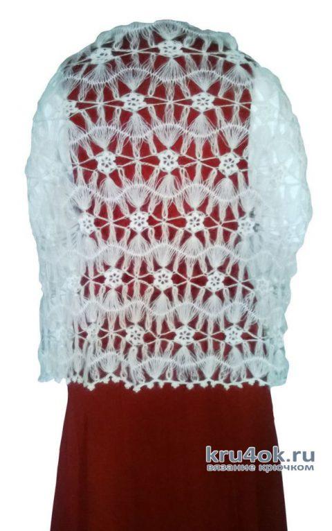 Палантин Белоснежная невесомость, связанный крючком на вилке вязание и схемы вязания