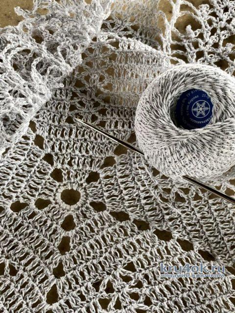 Салфетка Звездочка связана крючком. Работа Надежды Борисовой вязание и схемы вязания