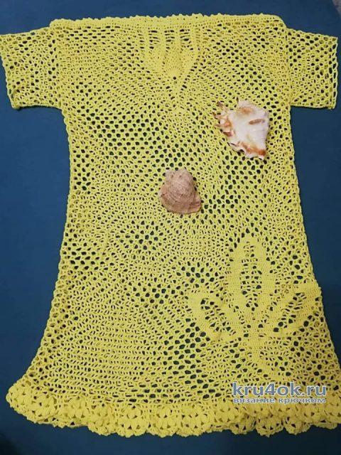 Солнечная пляжная туника крючком. Работа Елены Ворожко вязание и схемы вязания