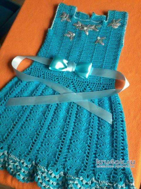 Вязаное детское платье. Работа Оксаны