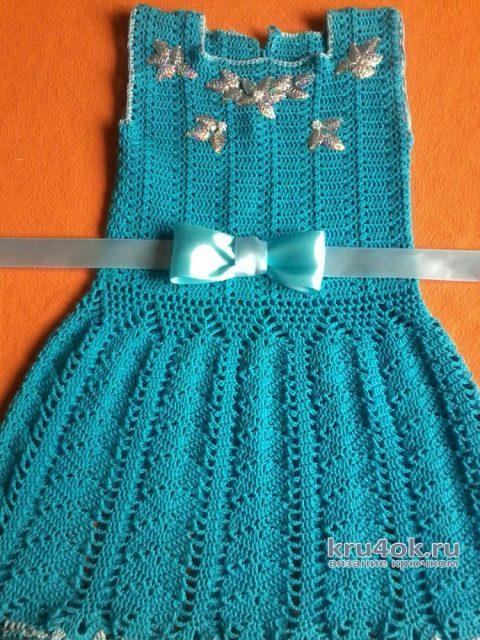 Вязаное детское платье. Работа Оксаны вязание и схемы вязания