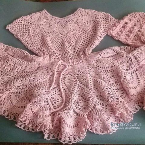 Вязаное платье и панама для девочки. Работа Елены