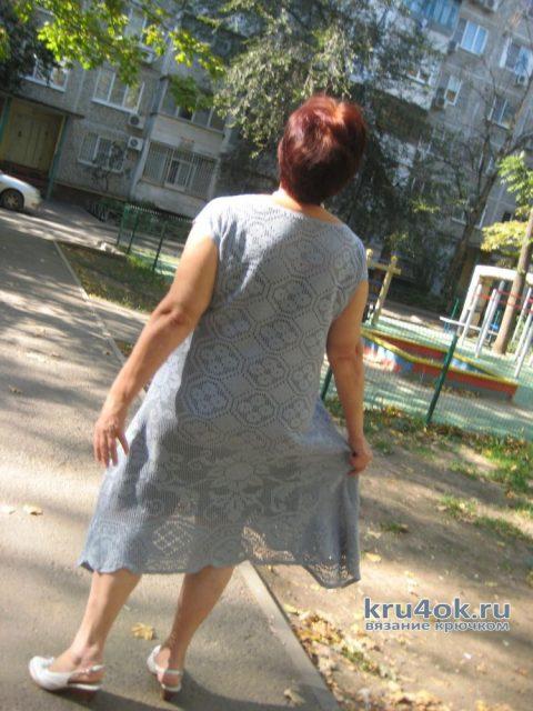 Женское платье в филейной технике. Работа Ларисы вязание и схемы вязания