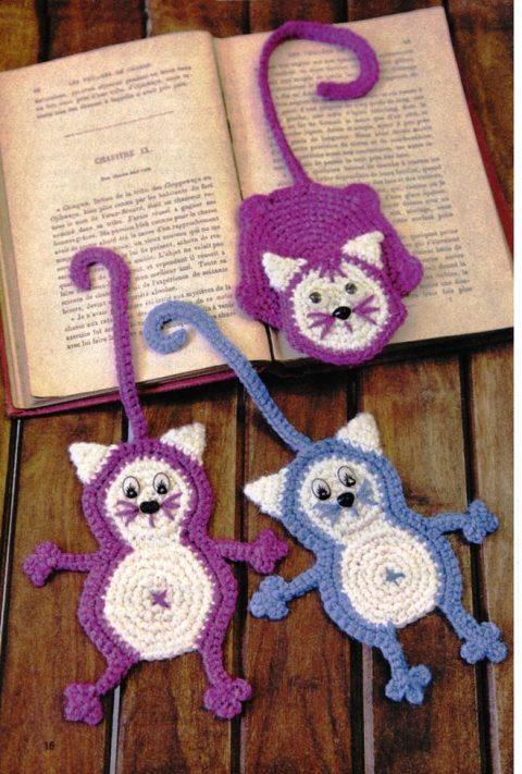 Закладки для книг коты - три схемы вязания крючком