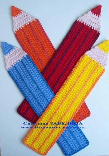 Закладка крючком Цветной карандаш