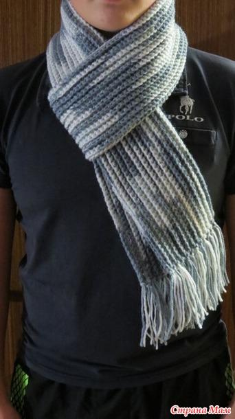 Мужской шарф крючком, связан простыми столбиками