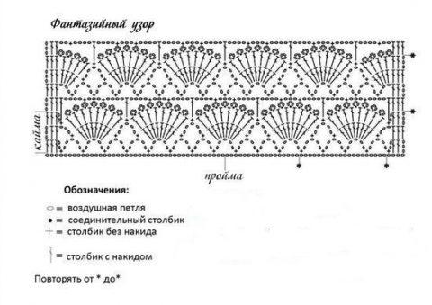 """Схема ажурного жилета с узором """"веера"""""""