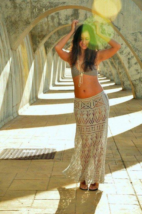 длинная юбка бохо вязание