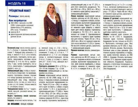 Описание и схемы вязания трехцветного жакета