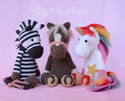 Единорог, лошадь и зебра по одной схеме