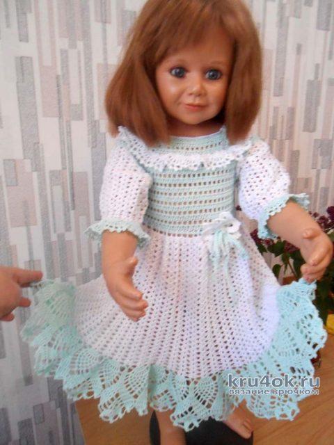 Вязанное крючком нарядное платье для девочки