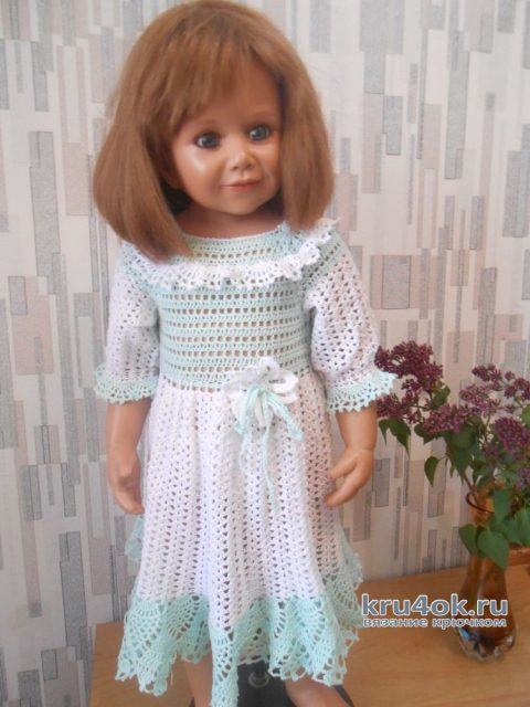 Вязанное крючком нарядное платье для девочки вязание и схемы вязания