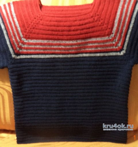 Женский джемпер с коротким рукавом. Работа Анны вязание и схемы вязания