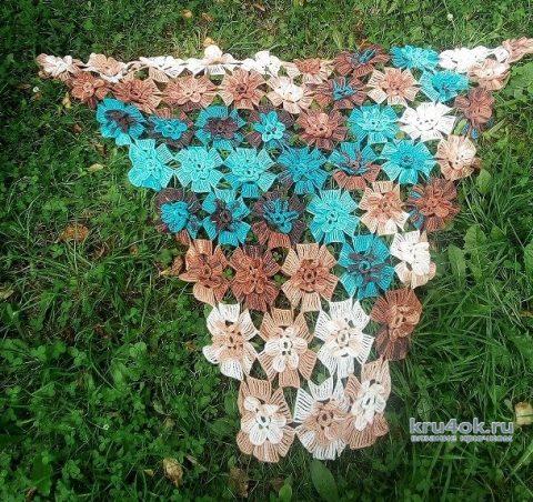 Шаль крючком Вальс цветов. Работа Марины Алексеевны вязание и схемы вязания