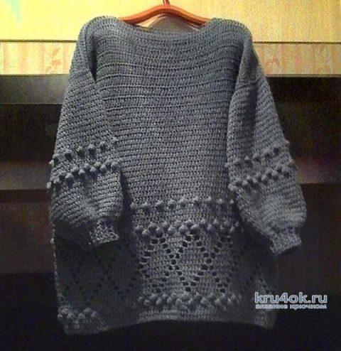 Теплый женский свитер крючком. Работа Марины Алексеевны вязание и схемы вязания