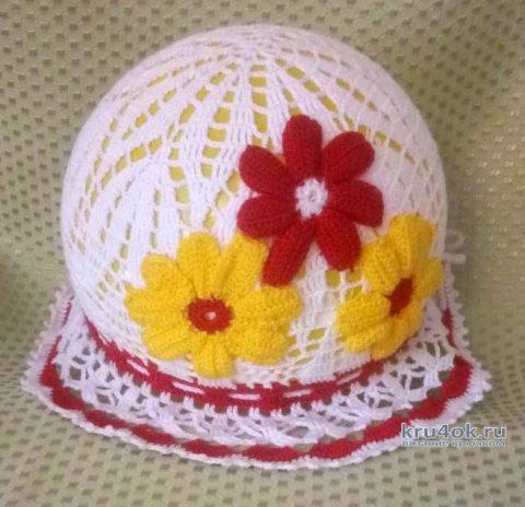 Вязаная шляпка крючком для девочки. Работа Ивановой Людмилы вязание и схемы вязания