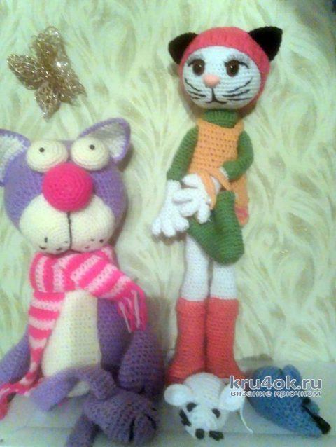 Вязанная крючком игрушка кошка. Работа Екатерины