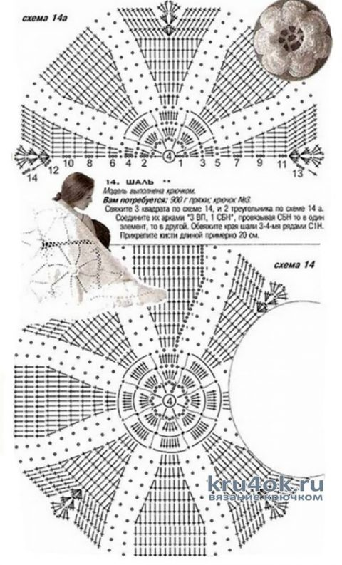Вязанная крючком шаль Желтые розы. Работа Марины Алексеевны вязание и схемы вязания