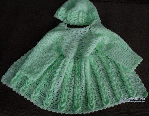 Вязаный крючком комплект Колосок: кардиган и шапочка вязание и схемы вязания