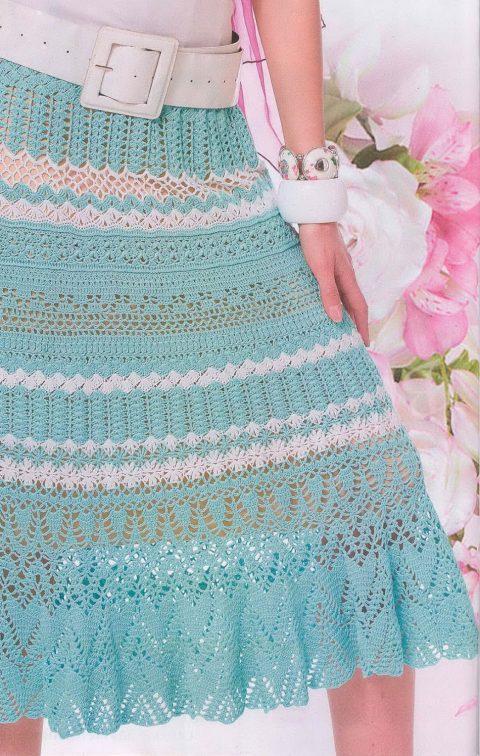 Ажурная бирюзовая юбка крючком