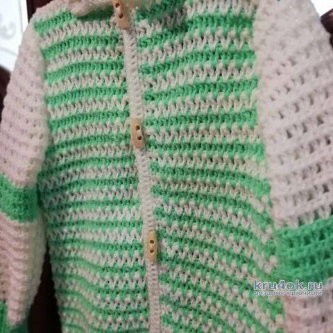 Детская кофта крючком. Работа Марии вязание и схемы вязания