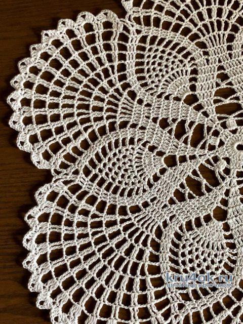 Оригинальная круглая салфетка крючком. Работа Надежды Борисовой вязание и схемы вязания