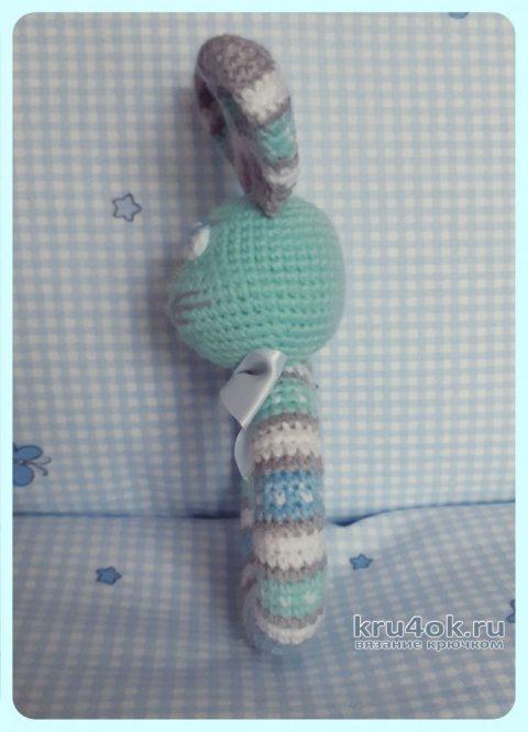 Погремушка - заяц крючком. Работа Ксении вязание и схемы вязания