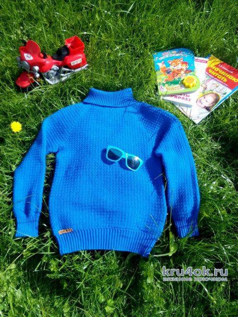 Свитер для мальчика крючком. Работа Ольги Каштановой вязание и схемы вязания