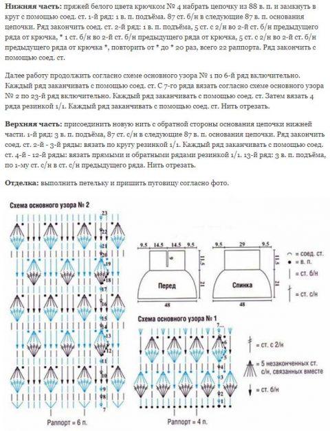 Описание манишки и схема вязания