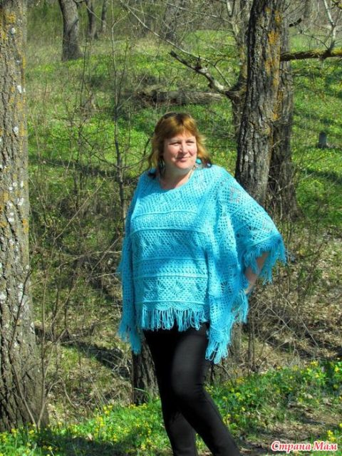 Вязаное пончо по мотивам шали