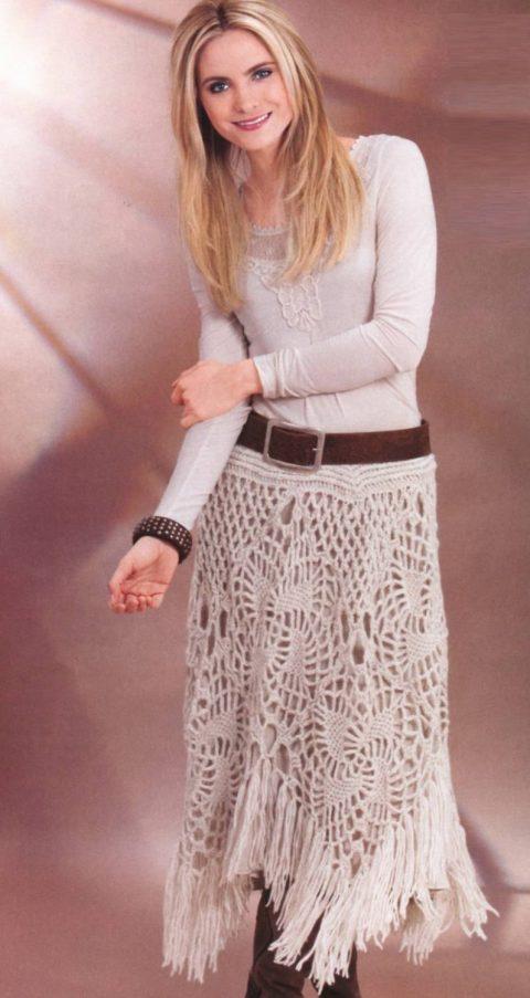 теплая юбка из ажурных квадратов