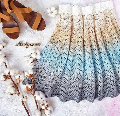 Вязание ажурной юбки узором зиг-заг