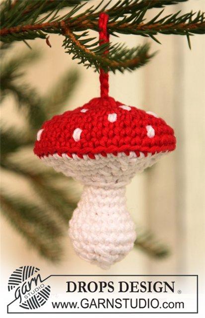 Новогодняя игрушка гриб - мухомор крючком