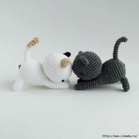 Забавные коты, как связать крючком