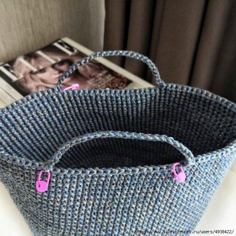 Сумка - шоппер крючком из трикотажной пряжи или шнура