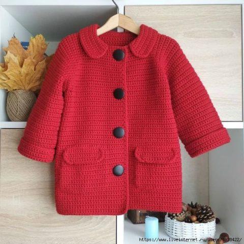 Детское пальто - кардиган крючком