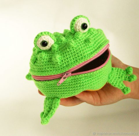 Детский кошелек - лягушка крючком