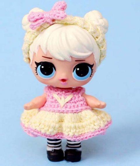 Как связать платье для куклы Лол LOL, описание от Эмили Фриман