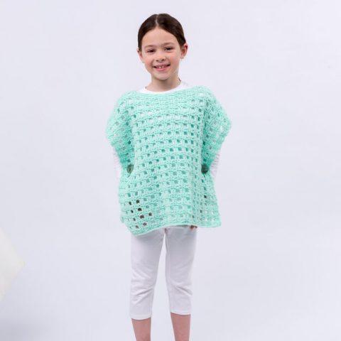 Вязание мятного пончо для девочки