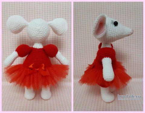 Белая мышка в юбочке, связана крючком. Работа Ксении вязание и схемы вязания