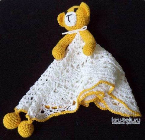 Игрушка для малыша мишка-комфортер крючком. Работа Анны вязание и схемы вязания