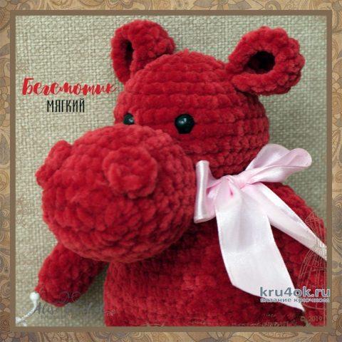 Как связать бегемота крючком из плюшевой пряжи. Работа Alise Crochet вязание и схемы вязания