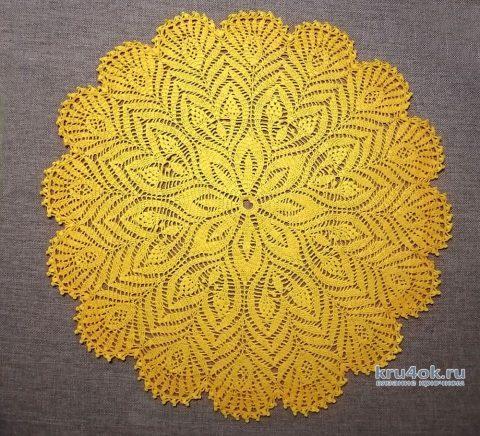 Круглая салфетка Солнышко крючком. Работа Анастасии Курмаз вязание и схемы вязания