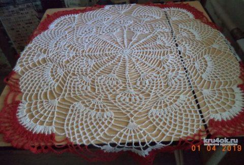 Круглая скатерть с ананасами крючком. Работа Анны вязание и схемы вязания