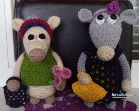 Крыска Лариска и крыс Лорик крючком. Работы Анны вязание и схемы вязания