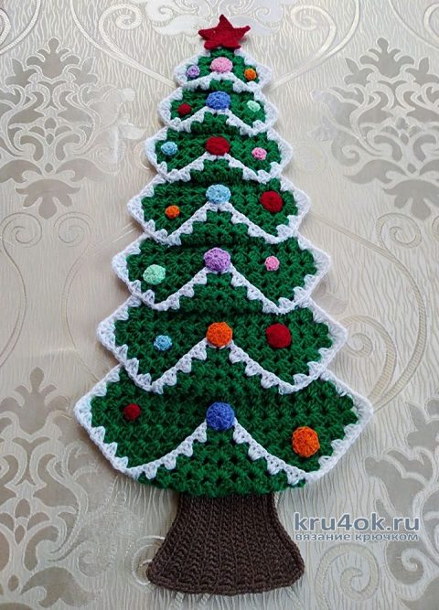Вязаная Ёлочка - панно на стенку, виде-урок и схема вязания вязание и схемы вязания