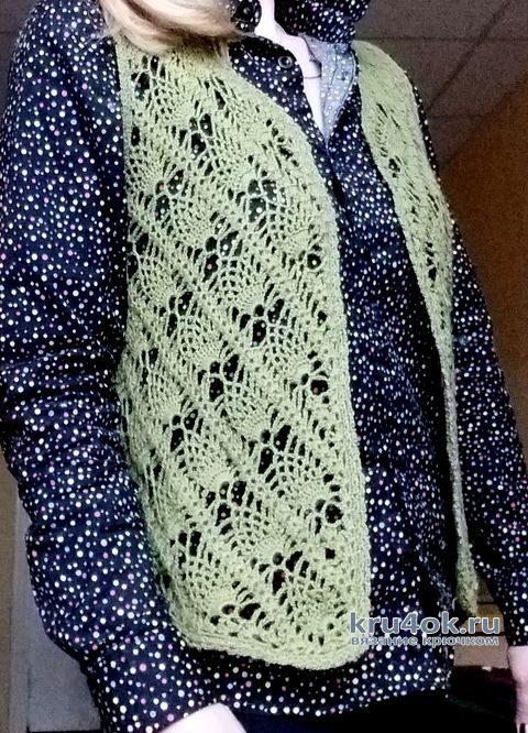 Женский жилет крючком из мериносовой шерсти. Работа Елены Шевчук вязание и схемы вязания