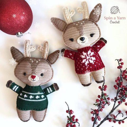 Новогодние игрушки олени крючком