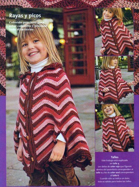 Теплое пончо для девочки, вязание крючком